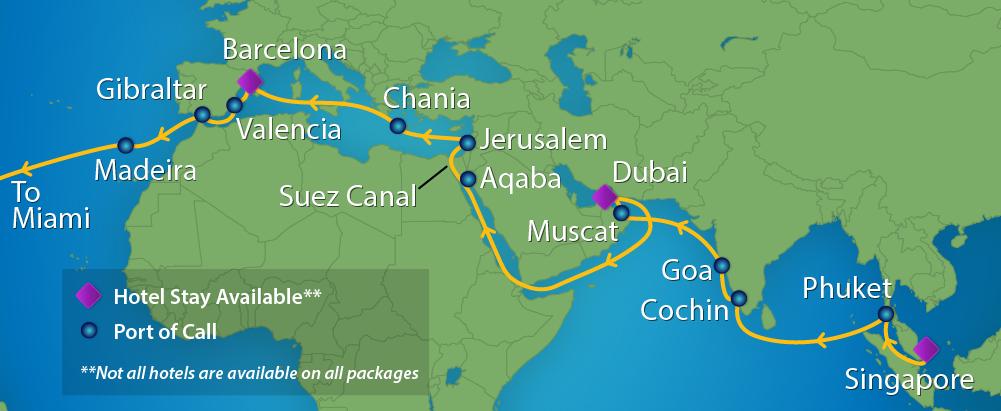 Royal Caribbean Mariner of the Seas World Voyage and segments