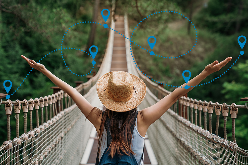 Woman with Oustretched Arms on Bridge
