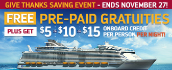 Cruise Royal Caribbean with Free Gratuities plus Onboard Credit