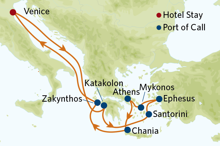 Map for 12 Night Greek Isles Value Inclusive Package