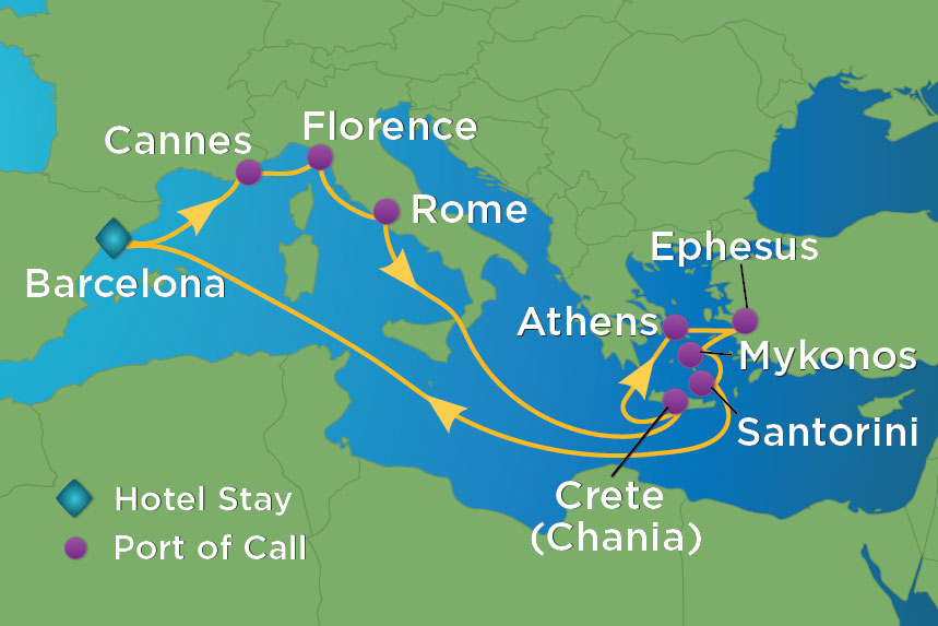 Map for 14 Night Greek Isles Value Inclusive Package